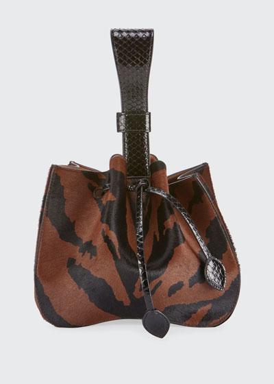 Rose Marie Poulain Zebra-Print Bucket Bag