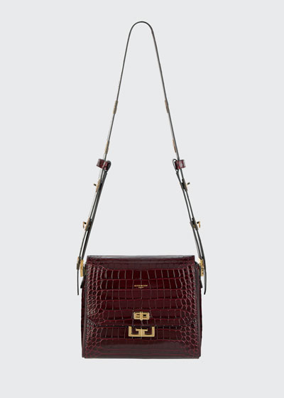 Eden Medium Croc-Embossed Shoulder Bag