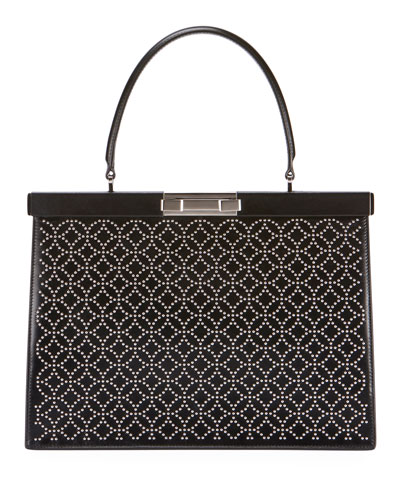 Cecile Mini Stud Embossed Leather Top Handle Bag
