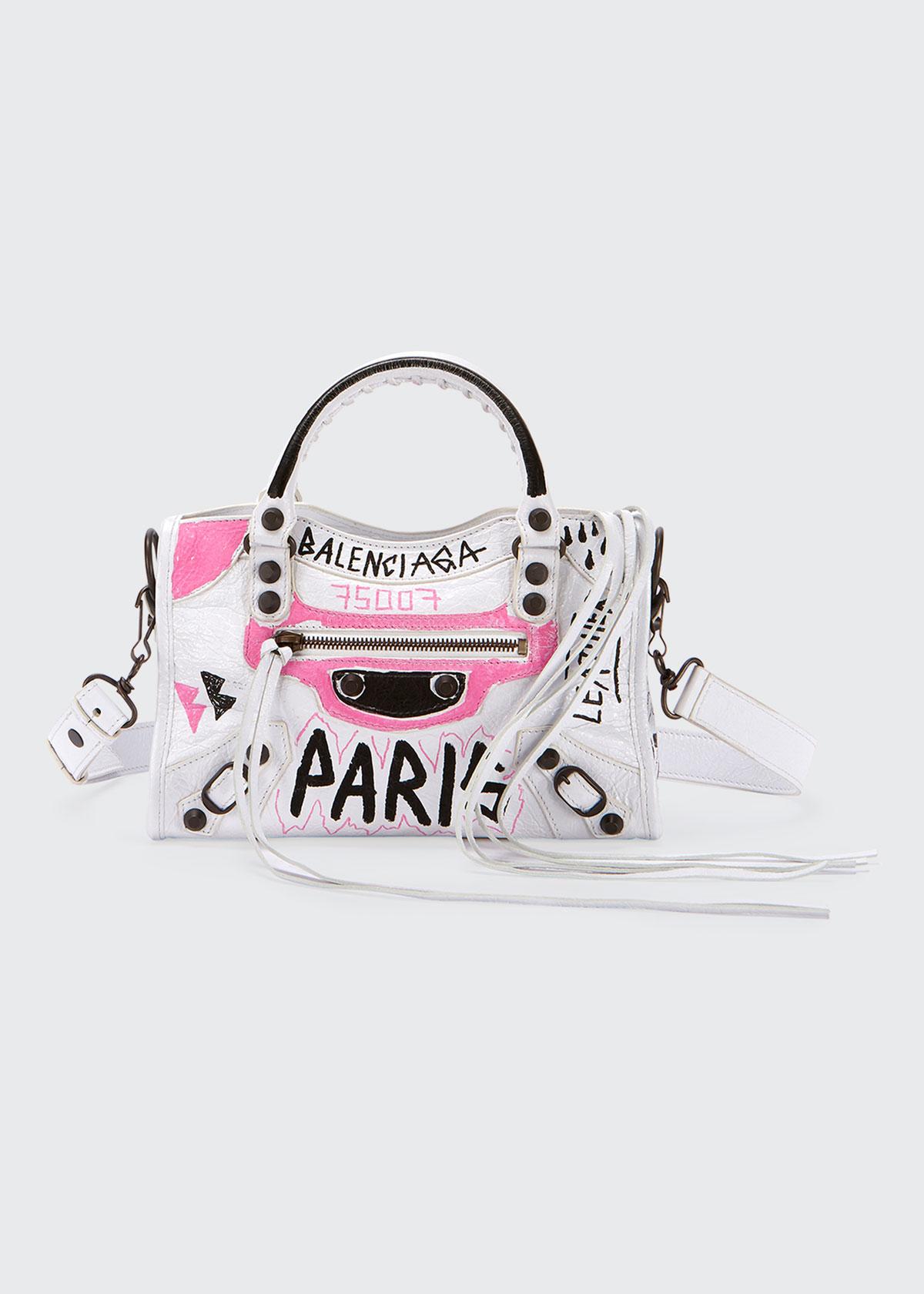 3b3d2e5aa7 Balenciaga Classic City Mini Graffiti Satchel Bag In White Pattern ...