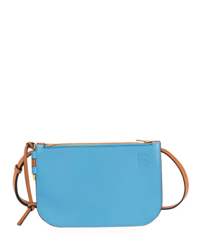 Gate Colorblock Double Zip Pouch Clutch Bag