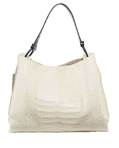 Large Soft Crocodile Hobo Bag