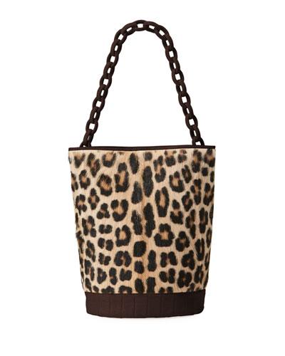 Jojo Large Crocodile & Goat Fur Bucket Bag