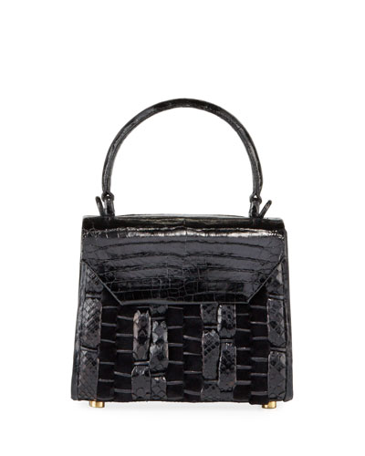 Lily Mini Woven Crocodile/Python Top Handle Bag