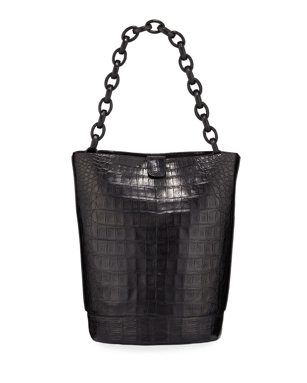 Nancy Gonzalez Jojo Crocodile Bucket Bag In Black