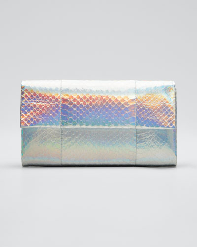 Gotham Small Metallic Python Snakeskin Clutch Bag