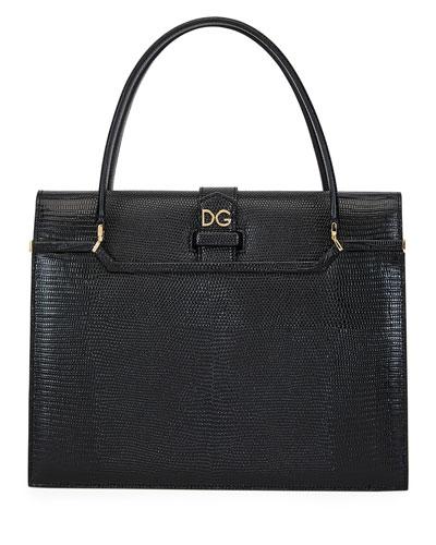 Ingrid Iguana-Embossed Large Top Handle Bag