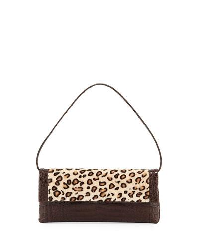 Gotham Large Leopard-Print Goat Fur & Crocodile Clutch Bag