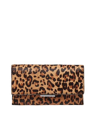 Tab Leopard-Print Calf Hair Clutch Bag