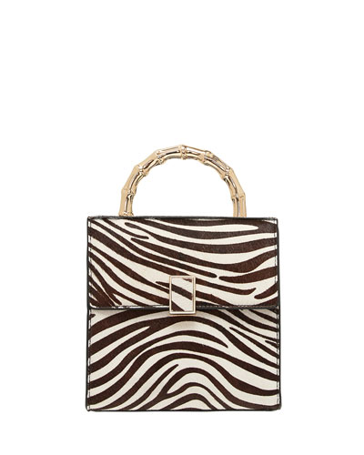 Zebra-Print Calf Hair Crossbody Bag