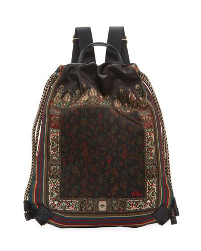 Mini Floral Satin Cinch Backpack