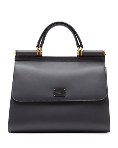 Sicily Large Leather Top Handle Bag