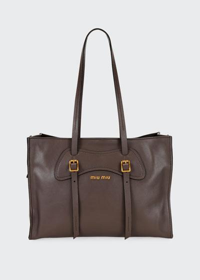 Grace Leather Logo Tote Bag