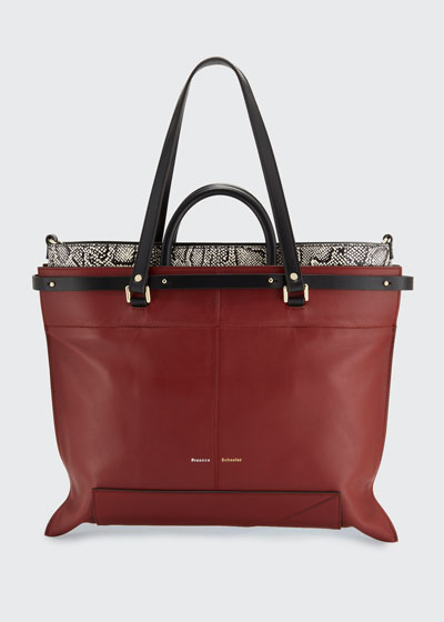 PS19 Large Smooth Leather & Snakeskin Tote Bag