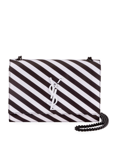 New Kate Small YSL Monogram Striped Silk Crossbody Bag