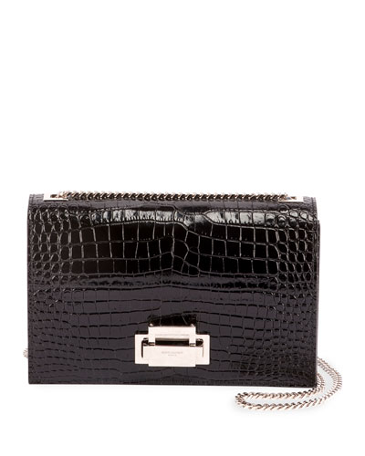 Grey Mock-Croc Leather Crossbody Bag