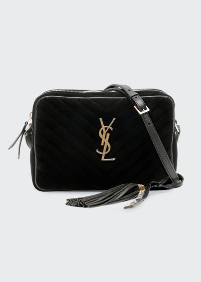 Lou Medium YSL Monogram Quilted Velvet Crossbody Bag