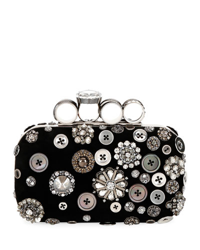 Allover Button-Embellished Clutch Bag