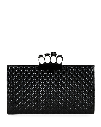 Small Quilted Patent Flat Knuckle Clutch Bag