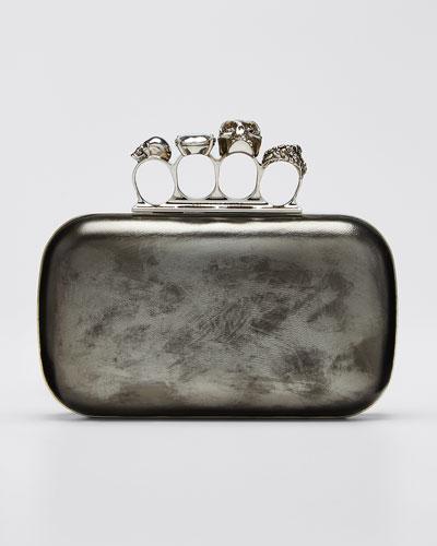 Antiqued 4-Ring Knuckle Clutch Bag