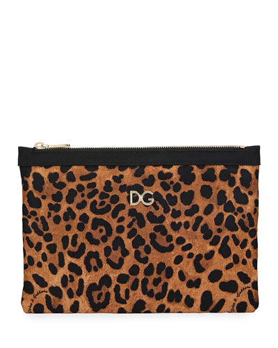 Leopard-Print Nylon Clutch Bag