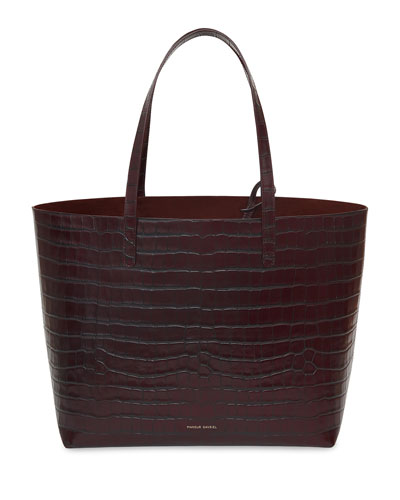 Large Crocodile-Embossed Tote Bag