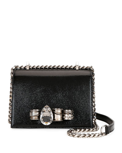 Mechanical Small Leather Shoulder Bag with Jewels