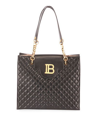 B Quilted Lambskin Shopper  Tote Bag