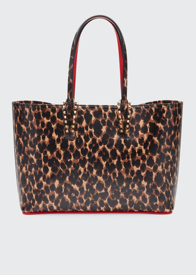 Cabata Small Calf Paris Leopard Red Sole Tote Bag