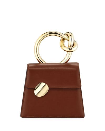 Brigitta Small Flap Top Handle Bag, Brown