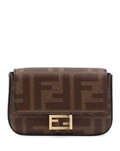 Fabric FF Micro Baguette Crossbody Bag