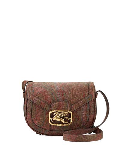 Leather Paisley Round Shoulder Bag