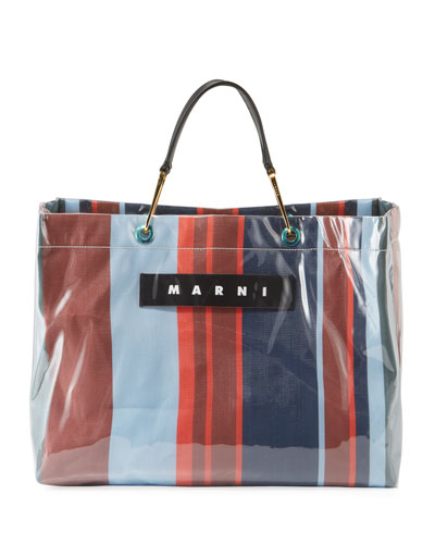 Striped Shopper Tote Bag