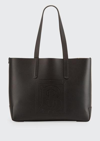 TB Embossed Internal-Monogram Medium Tote Bag, Black