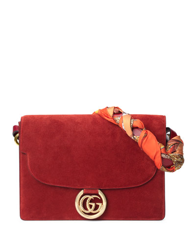 GG Ring Suede Shoulder Bag