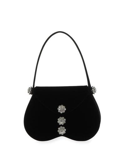 June Velvet Top-Handle Bag