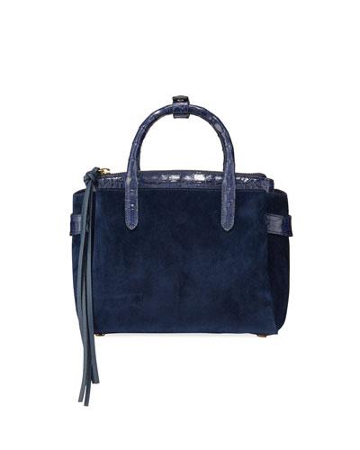 Cristie Small Suede and Crocodile Top Handle Bag