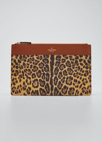 City Safari Leopard-Print Zip Large Pouch Bag