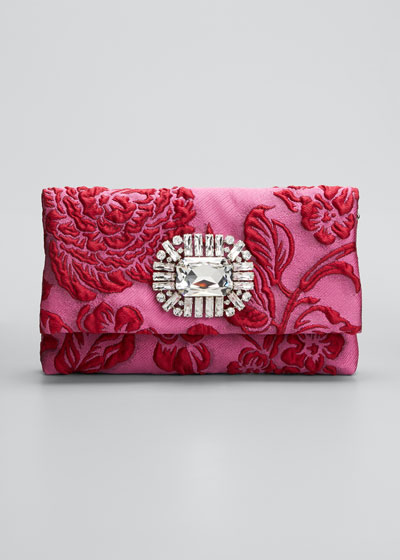 Titania Brocade Jeweled Cocktail Clutch Bag