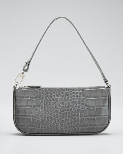 Rachel Small Croc-Embossed Shoulder Bag, Gray