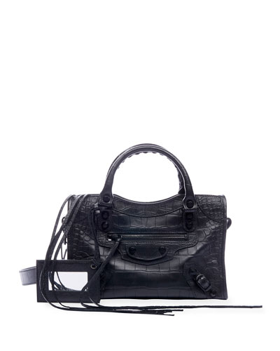 AJ Classic Mini Croc-Embossed Satchel Bag