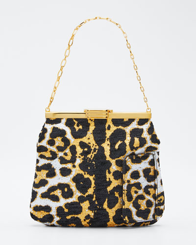 Leopard Metallic Chenille Mini Clutch Bag