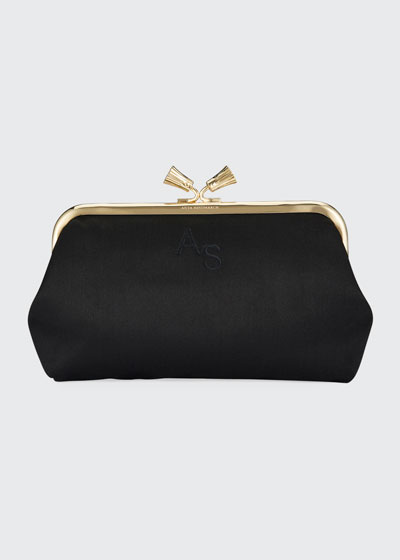 Maud Tassel Satin Clutch Bag, Black