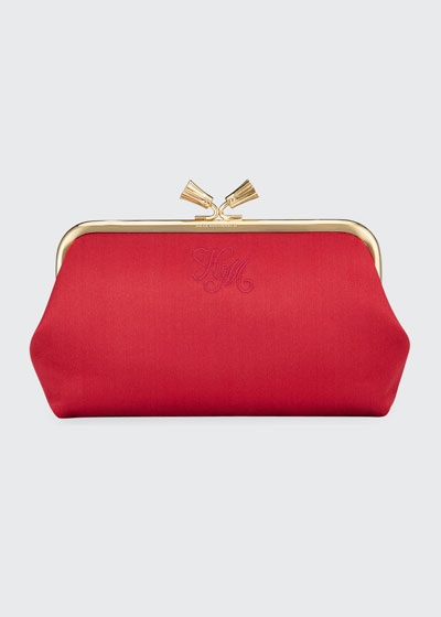 Maud Tassel Satin Clutch Bag, Dark Pink