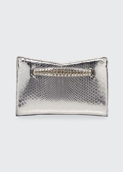 Venus Metallic Python Clutch Bag