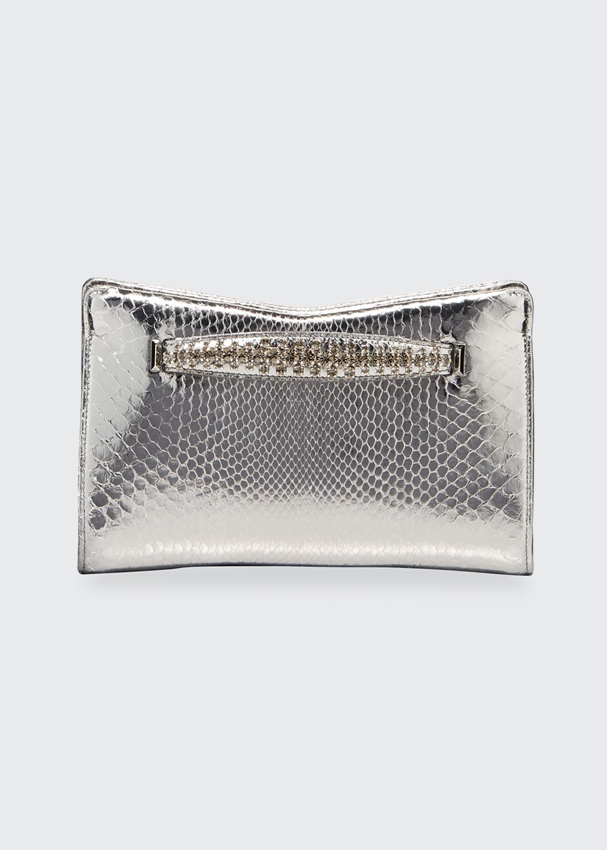 Jimmy Choo Venus Metallic Python Clutch Bag In Gray