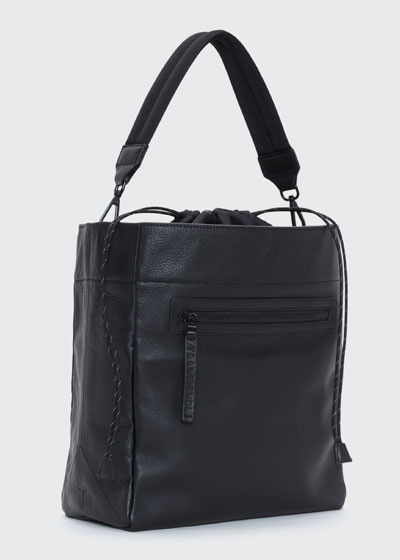 Swing Leather Drawstring Bucket Bag