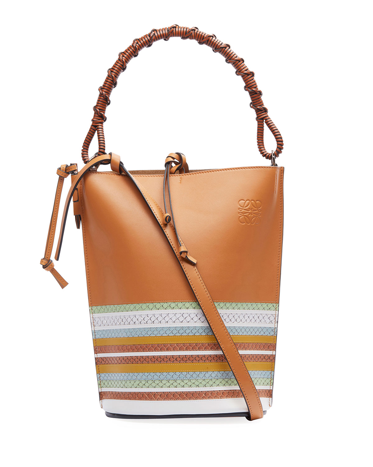 Loewe Bags GATE MARINE SNAKE-TRIM BUCKET BAG