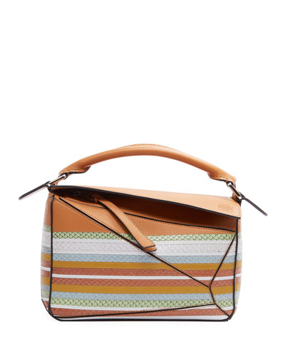 Puzzle Striped Snake-Print Leather Satchel Bag