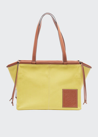 Cushion Two-Tone Leather Tote Bag